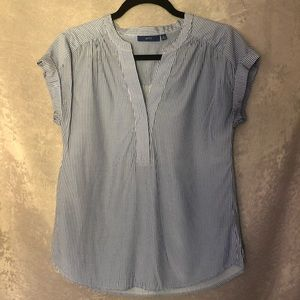 Apt 9 blue and white striped light blouse tee
